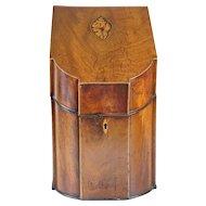 English George III Inlaid Mahogany Serpentine Knife Box