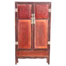 Chinese Qing Rosewood and Burled Hardwood Cabinet