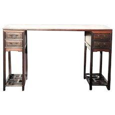 Chinese Qing Rosewood and Mixed Hardwoods Three-Part Tall Writing Desk/Painting Table