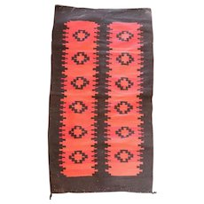 Native American Navajo Granado Revival Wool Crystal Red and Black Blanket