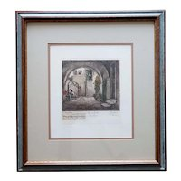 Vintage After HERTA CZOERNIG Hand Colored Etching, Home of Joseph Haydn