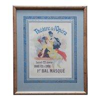 JULES CHERET Belle Epoque Lithograph Print, Theatre de L'Opera, Plate 105