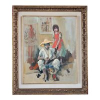 Vintage VLADAN STIHA Oil on Canvas Painting, Shoeshiner