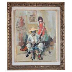 Vintage VLADAN STIHA Oil on Canvas Painting, Shoeshiner