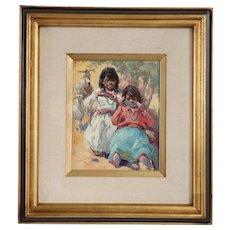 VLADAN STIHA Oil on Canvas Painting, Navajo Children Eating Watermelon