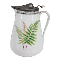 English Victorian R. Broadhead & Co. Pewter & Ceramic Fern and Foxglove Milk Jug