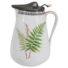 English Victorian R. Broadhead & Co. Pewter & Ceramic Fern and Foxglove Milk Jug
