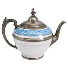 American Manning, Bowman & Co. Pewter and Enamel Graniteware Teapot