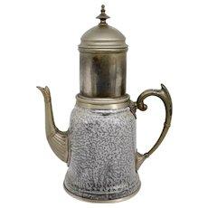 American Manning, Bowman & Co. Metal Trimmed Graniteware Enamel Coffee Pot