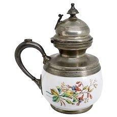 American Victorian Pewter Trimmed Graniteware Floral Enamel Syrup Jug