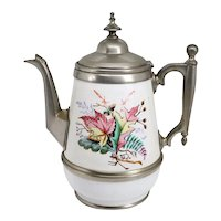 American Manning, Bowman & Co. Pewter Trimmed Graniteware Enameled Teapot