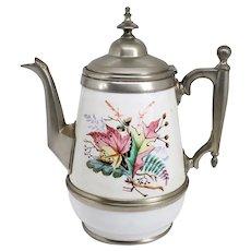American Manning, Bowman & Co. Pewter Trimmed Graniteware Enameled Teapot