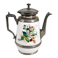 American Manning, Bowman & Co. Pewter Trimmed Graniteware Enameled Coffee Pot