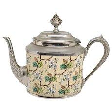 American Aesthetic Movement Plated Metal Graniteware Floral Enameled Teapot