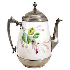 American Manning, Bowman & Co. Graniteware Floral Enamelled Coffee