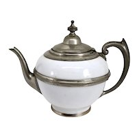 American Manning, Bowman & Co. Pewter Trimmed Graniteware White Enamel Teapot