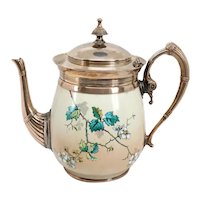 American Manning, Bowman & Co. Silverplate Trimmed Graniteware Enamel Teapot