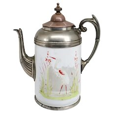 American Manning, Bowman & Co. Pewter Trimmed Graniteware Heron Coffee Pot