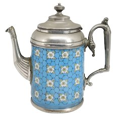 American Manning, Bowman & Co. Pewter Trimmed Graniteware Enameled Blue Coffee Pot