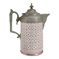 American Manning, Bowman & Co. Pewter Trimmed Graniteware Pink Enameled Teapot