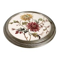 English Aesthetic Movement Porcelain and Pewter Floral Round Footed Cake Stand