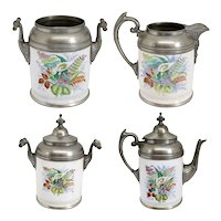 Four-Piece American Manning, Bowman & Co. Pewter Trimmed Graniteware Enamel Tea Set