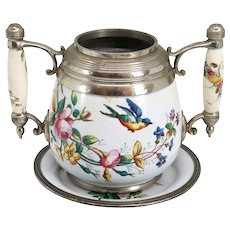 American Manning, Bowman & Co. Pewter Trimmed Graniteware Enameled Sugar Bowl and Plate