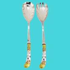 Vintage Two-Piece English Sheffield Silverplate and Porcelain Salad Servers