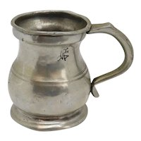 English Victorian Pewter Half Pint Tavern Measure Mug
