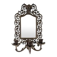 American Bradley & Hubbard Cast Iron Three-Candle Beveled Mirrored Sconce