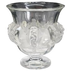 Small French Lalique Satin Crystal Dampierre Vase / Urn