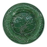 French Montereau Green Faience Relief Moulded Cabbage Leaf Plate