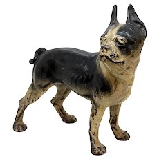 American Hubley or National Foundry Painted Cast Iron Boston Terrier Dog Doorstop