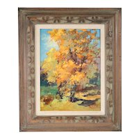VLADAN STIHA Oil on Panel Painting, Cottonwood Trees in Autumn