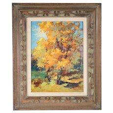 VLADAN STIHA Oil on Panel Painting, Cottonwood Trees in Autumn