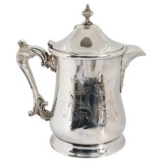 American Victorian Forbes Engraved Silverplate Water Pitcher