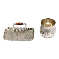 American Aesthetic Movement Silverplate and Tiger Eye Card Tray and Beaker Cup