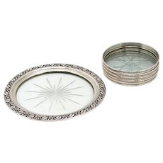 Five Vintage American Webster and Lunt Sterling Silver and Glass Coasters