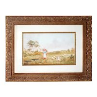 HORACE HAMMOND Watercolor Painting, Farm Girl with a Flock of Geese