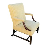 English Chippendale Upholstered Mahogany Library Armchair