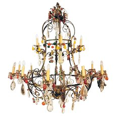 Large Italian Venetian Wrought Iron, Crystal and Colored Fruit Drop 20-light Chandelier