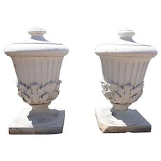 Pair of American White Glazed Stone Architectural Urn Finials