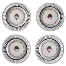 Set of Four Chinese Export Style Portuguese Porcelain Armorial Reticulated Plates