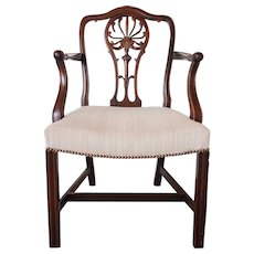 English Chippendale Style Mahogany Upholstered Armchair