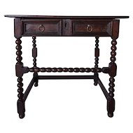 English Jacobean Oak Bobbin-Turned Side Table