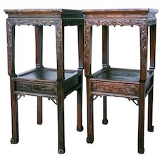 Pair of Chinese Red Lacquer Poplar Side Tables or Tea Stands