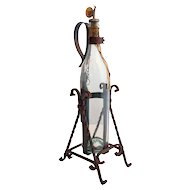Vintage German Asbach Uralt Brandy Bottle with Wrought Iron Holder and Pouring Stand