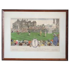Rare American Currier and Ives After J. W. Williamson Colored Lithograph, Golf Championship