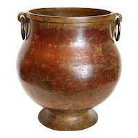 Large South Indian Hammered Copper and Brass Footed Water Storage Pot