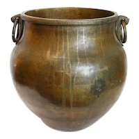 Large South Indian Hammered Brass Ring Handle Water Storage Pot